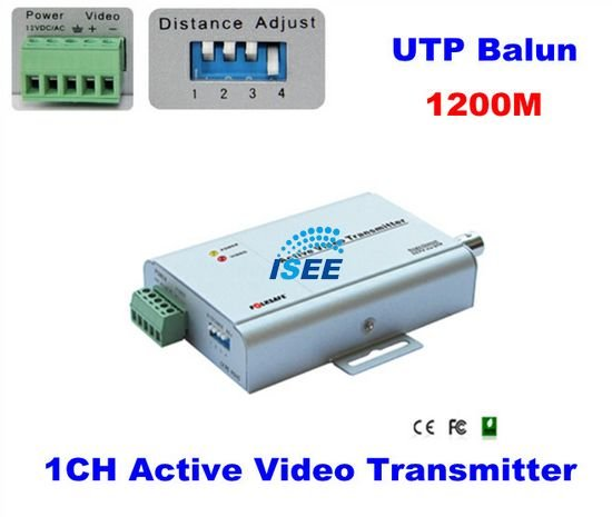 1 CH Active Video Transmitter BNC CAT5 UTP Balun 1200M For CCTV Camera FREE SHIPPING CHINA POST(China (Mainland))
