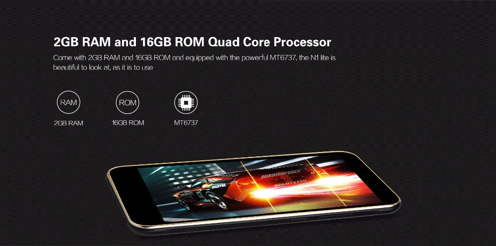 Nubia N1 Lite NX597J 5.5inch HD Mobile Phone MT6737 Quad Core 2GB RAM 16GB ROM 4G FDD LTE 13MP 3000mAh Android 6.0 Fingerprint