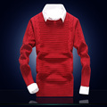 Popolar Men Autumn Winter Warm Sweaters Full Sleeve Solid O Neck Men Slim Pullovers Classic Clothing