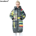 2016 Winter Jacket Women Knee Long Loose Cotton Down Coat Thick Painting Pattern Hooded Padded Jacket