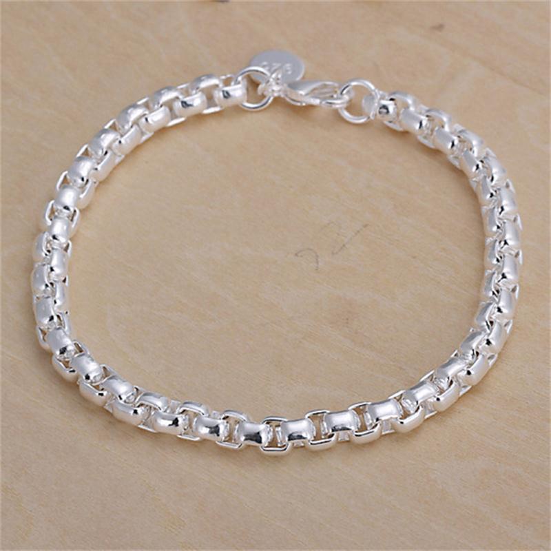 Free Shipping 2015 New Women Girls Silver Plated Wrist-Chain Jewelry Fashion Female 4MM Hollow Cube Boxes Bangle Bracelets(China (Mainland))