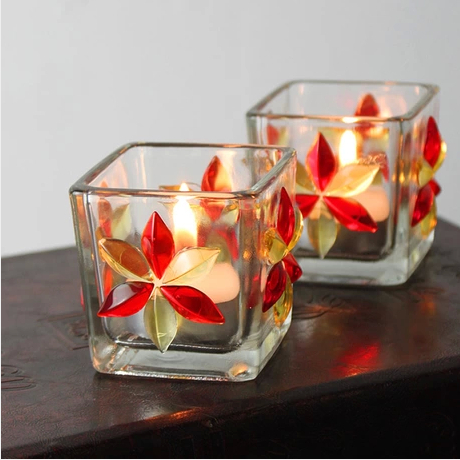 Flower Mosaic Glass Candle Stand Romantic Color Tea Light Candle Holder Wedding Decoration 4pcs/lot SH281(China (Mainland))