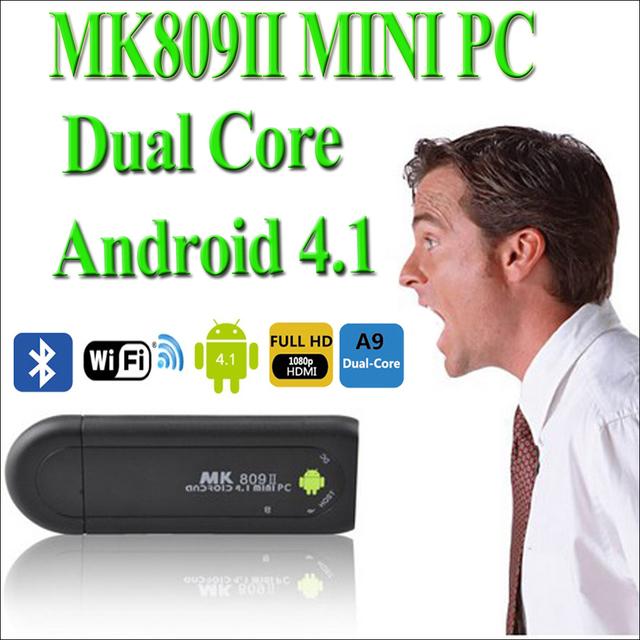 MK809 II Android 4.1.1 Mini PC TV Dongle Rockchip RK3066 1.6GHz Cortex A9 Dual core 1GB RAM 8GB Bluetooth MK809II 3D TV Box