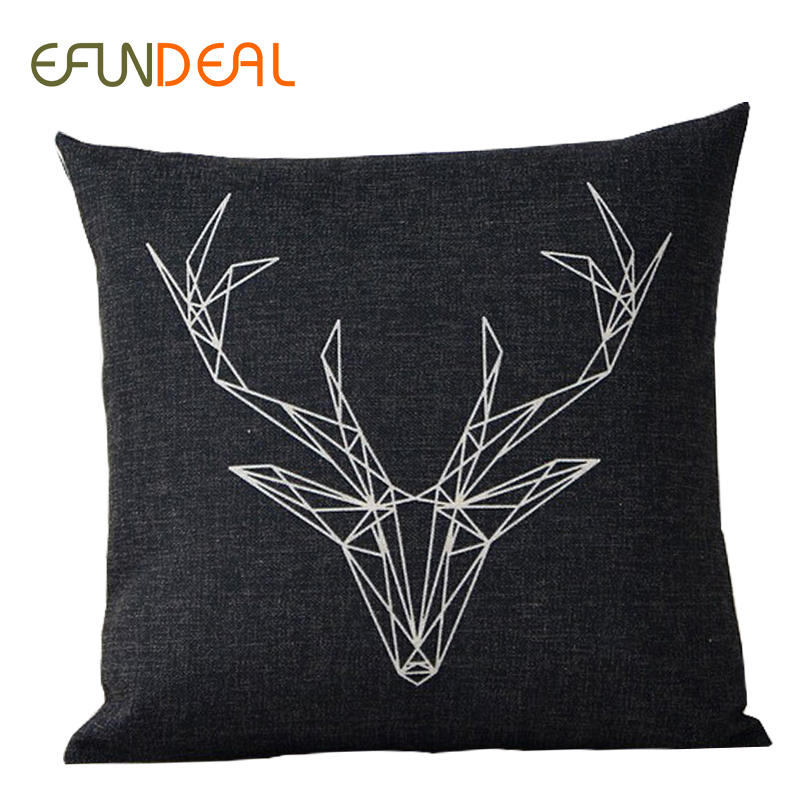 Decorative White Pillow Covers : Cushion Cover Pillow case Throw decorative cushion covers Black White Deer Geometric 45cm*45cm ...