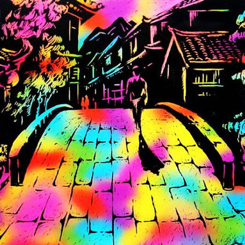 10 Sheets 16K Colorful Magic Scratch Art Painting Child kids Educational Learning Toys Paper With Drawing Stick Gift(China (Mainland))