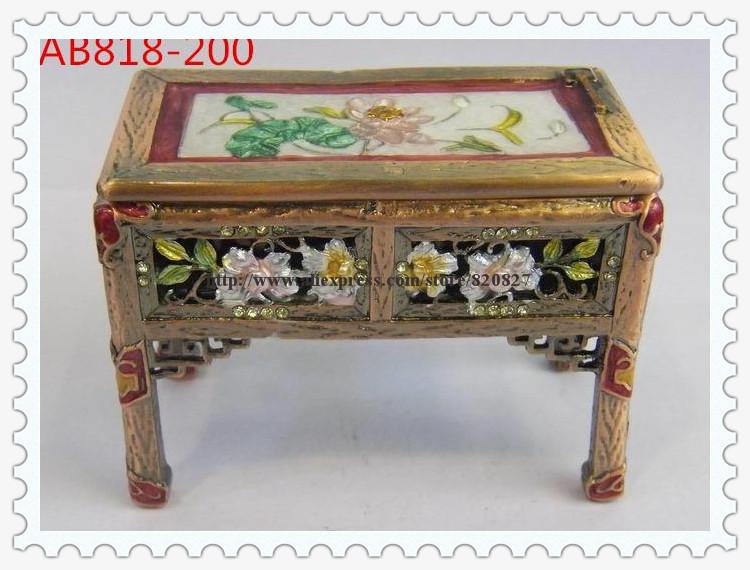 Asian Old Style Desk Shaped Trinket Jewelry Box Desk Treasure Keepsake Box Collectible Furniture Design Trinket(China (Mainland))