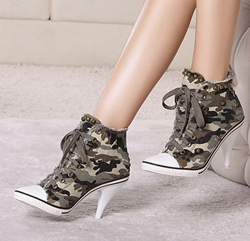 for Women Cowboy Camouflage Canvas Shoes Denim Women Thick High Heel ...