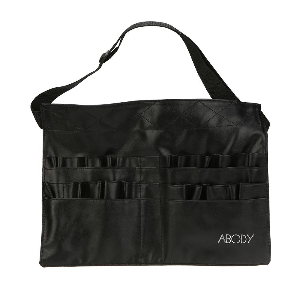 37.5 * 27.5cm Make Up Bag Professional Makeup Brush Bag Holder Two Array PVC Apron Bag Artist Belt Strap Cosmetic Brush Bag(China (Mainland))
