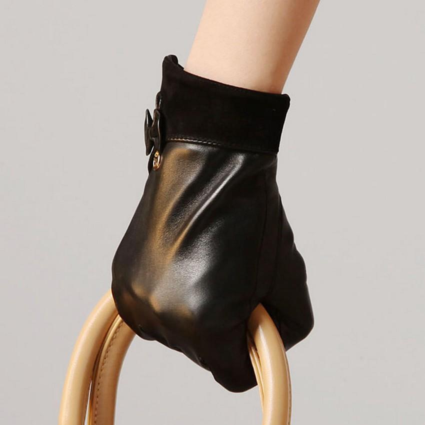 New Arrival 2016 Fashion Winter Gloves Women Lambskin Genuine Leather Wrist Black Warm Sheepskin Glove Special Offer El011pn(China (Mainland))