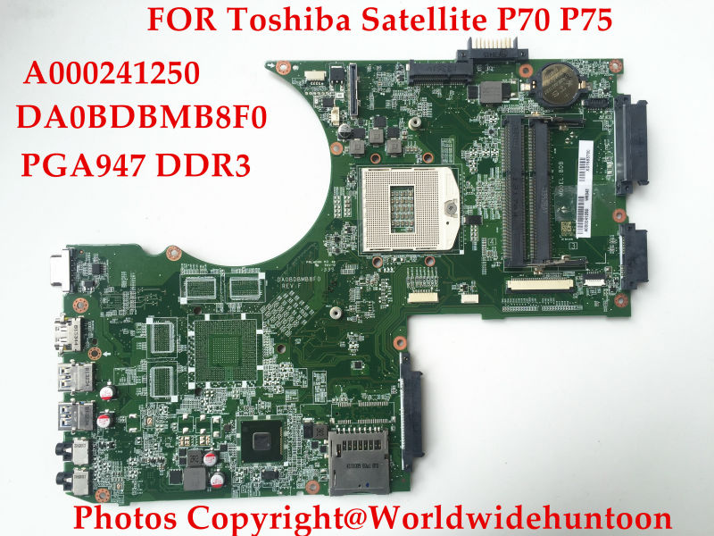 laptop motherboard for toshiba satellite P75 A000241250 DA0BDBMB8F0 socket PGA 947 HM86 GMA HD5000 DDR3 Fully tested(China (Mainland))