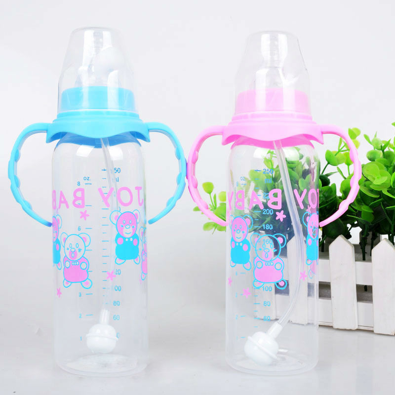 250Ml baby feeding bottle PP bottle with handle standard caliber Nursing bottle automatic nipple with breast milk bottle(China (Mainland))