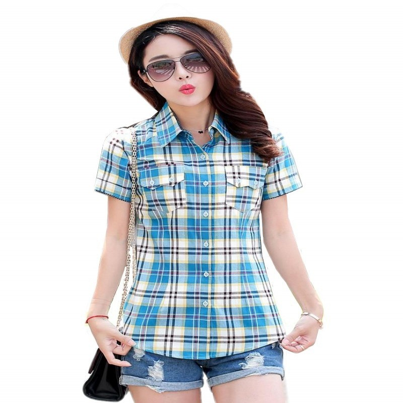 Fashion summer style Women shirt short Plaid Blouses cotton checkered female Flannel Slim tops plus size M-XXXL HS1275 - SixSisters 2013 Store store