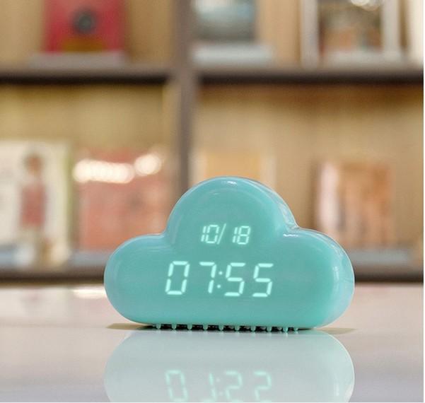 Creative Cloud Led Digital Display Alarm Sound Control AAA Powered/AC Adapter Desktop Wall Time Day Display Indoor(China (Mainland))