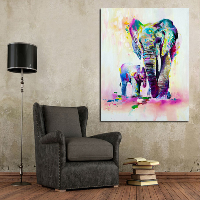 Handpainted Animal Wall Pictures Abstract Lovely Elephant Art Oil Painting Canvas Home Decor Hang Wall Paintings