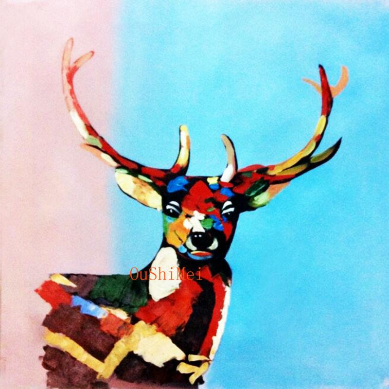 Professional Painter 100% Handmade Colorful Tibetan Antelope Animal Oil Painting On Canvas Wall Decor For Modern Home Decor(China (Mainland))