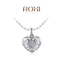 1PCS Free Shipping White Rose Gold Plated Austrian Crystal Hollow Heart Pendant Fashion Necklace Jewelry
