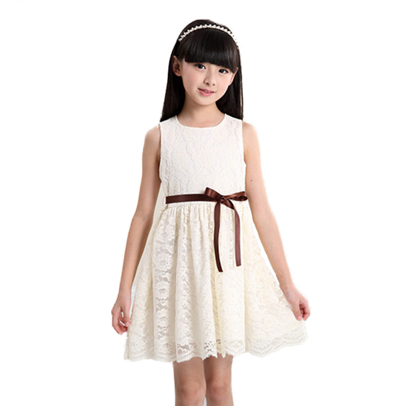 2016 3-10 years Summer Sleeveless Lace Casual Girl Dress With Belt Cute Fashion Girl Party Children Clothes Vestido Baby Dresses