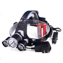 2016 5000LM 4-Modes Head Front Lamp bead T6+2R LED Camping Fishing Light +2*18650 battery+Car Charger+AC charger