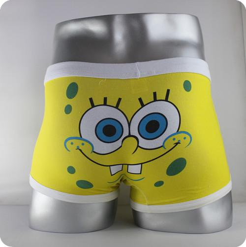 High quality 100% cotton cartoon men's Boxer lover underwear / men underwear  SpongeBob Yellow