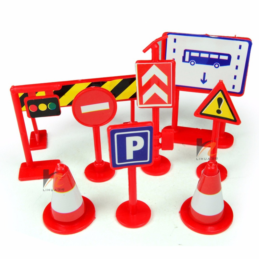 Traffic Sign Toy 9 pcs/set Packaged Children Early Education traffic safety signs toy(China (Mainland))