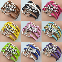 Promotion Jewelry Justin Bieber Fashion Multicolor Multi-layer Double Heart Leather Charm Bracelets For Women and Men