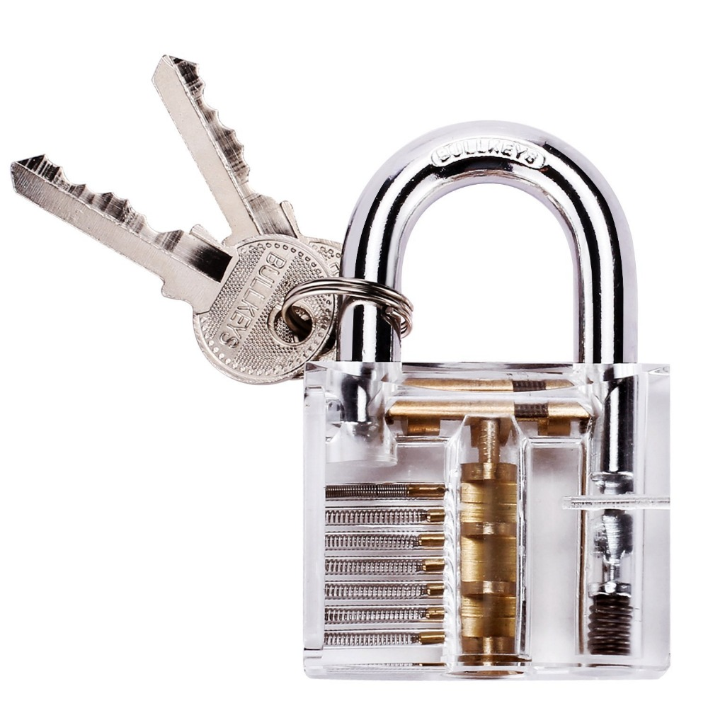 Professional Cutaway Inside View of Practice Cadeado Padlocks Lock Pick Lock Training Trainer Pick for Locksmith with Two Keys(China (Mainland))