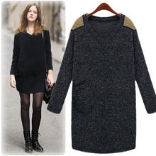 Fashion Plus size L to XXXL European Spring long-sleeved women Wool V-neck dress lady clothing 8516#