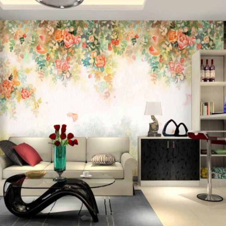 Nonwoven Large Photo Wallpapers, 3d wall paper roll flower for tv sofa living room murals(China (Mainland))