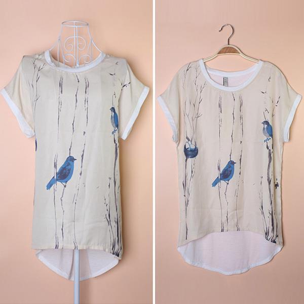 Fashion Ladies' Elegant women bird print chiffon spliced shirts O neck short sleeve shirt casual slim brand designer tops - eLife Co.,Ltd store