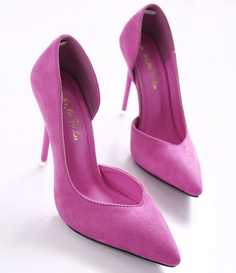2015 Fashion 11CM Sexy High Heels Pumps High heels shoes fashion sexy pointed suede pump pink high heel shoes FA-8915BA