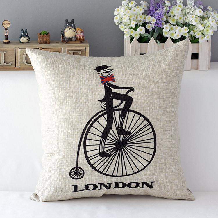 """18 """" Retro londres Impression Cotton Linen capa de almofada Ikea sofá decorativo descanso de lance cadeira casa carro fronha almofadas"""