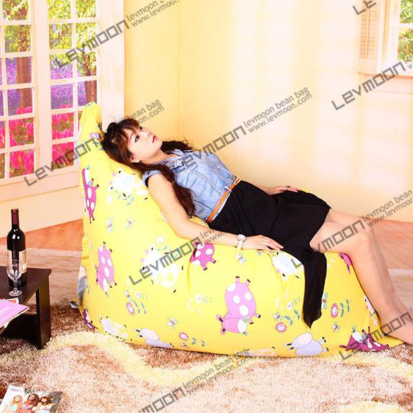 FREE SHIPPING 140*180CM lemon bean bags cover 100% cotton bean bag sofa fabric bean bag furniture yellow color bean bag(China (Mainland))