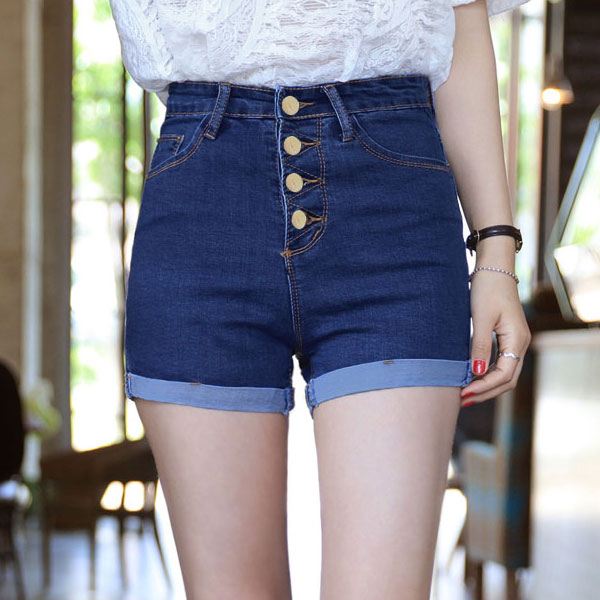 2016 Hot New Fashion Women Jeans Summer High Waist Denim Shorts Ladies Slim Bottoms Casual Female Bule Short Pants Plus Size(China (Mainland))