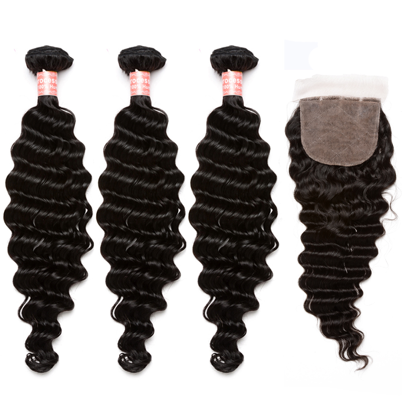6A Brazilian Virgin Hair With Closure 4Pcs/Lot Brazilian Deep Wave Silk Base Closure With Bundles Rosa Queen Hair Products<br><br>Aliexpress