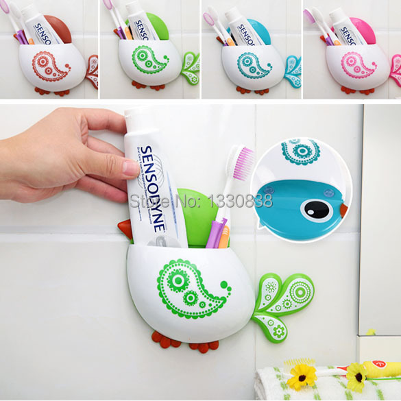 Free Shipping NEWEST Creative Bird Pattern Suction Cup Toothbrush Holder House Storage Tool Container ME3L(China (Mainland))