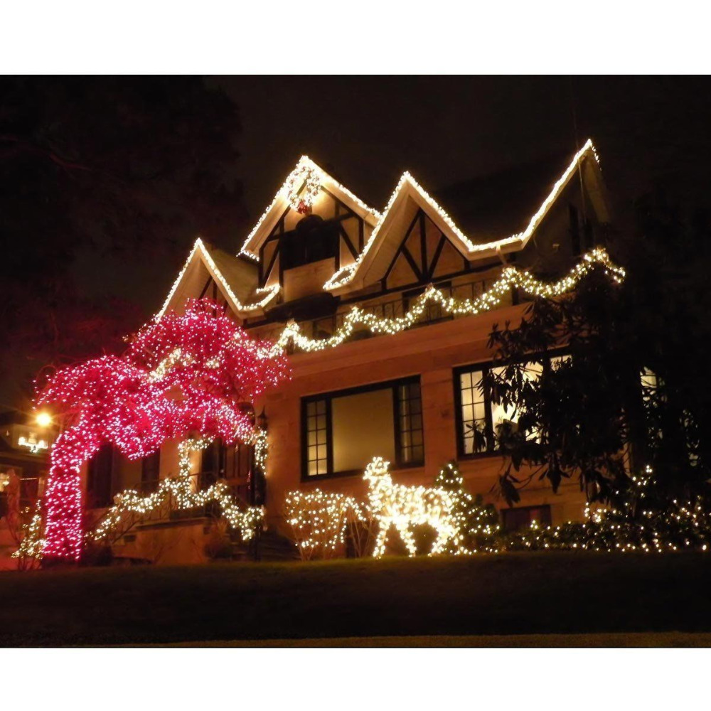 Warm white 100 led 200 led solar powered fairy string for Outdoor christmas lights
