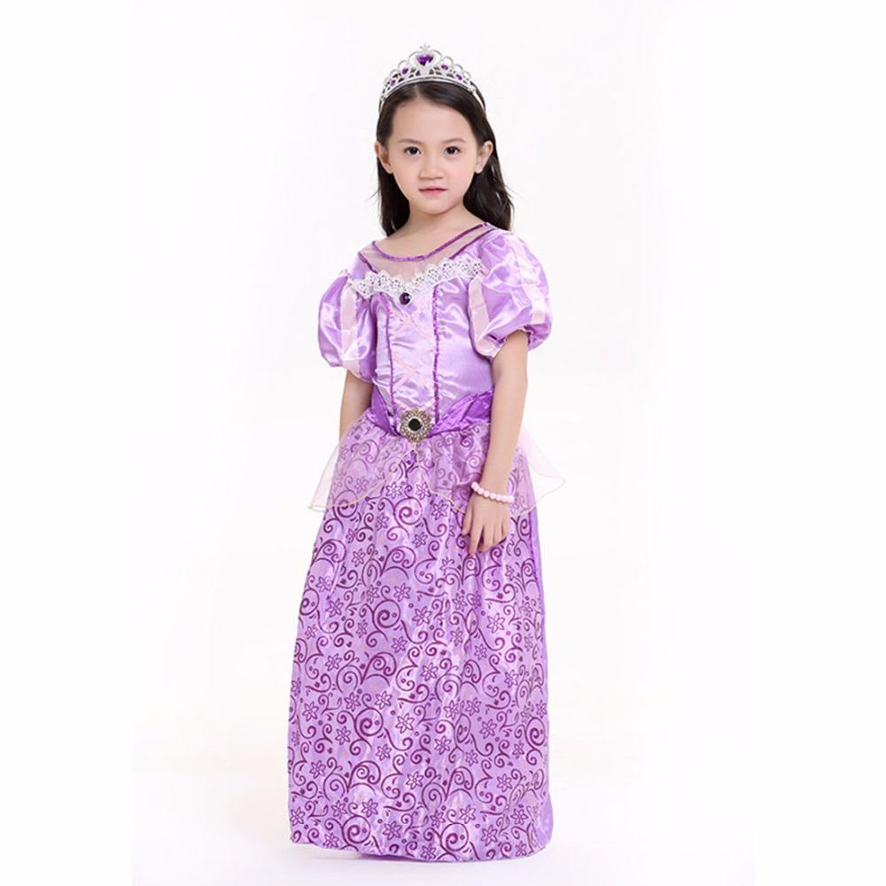 Kids Rapunzel Costume Enchanted Fairy Tale Tangled Princess Dress Purple Floral Fantasias Infantis Baby Girl Halloween Costumes(China (Mainland))