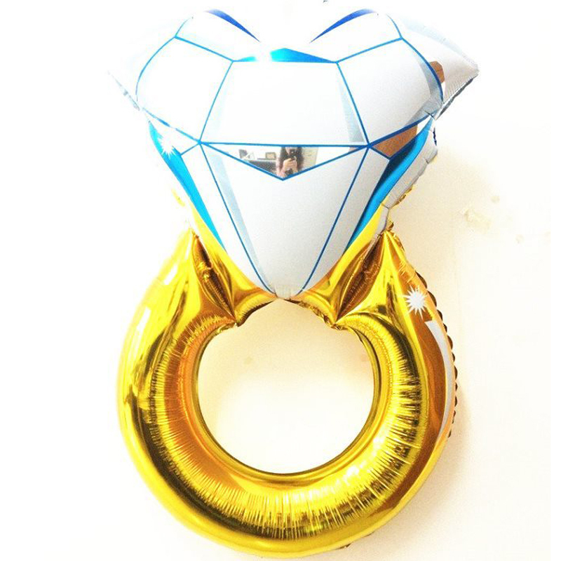 H1065 80*50cm large diamond ring shape foil balloons party metallized balloons Wedding helium balloon(China (Mainland))