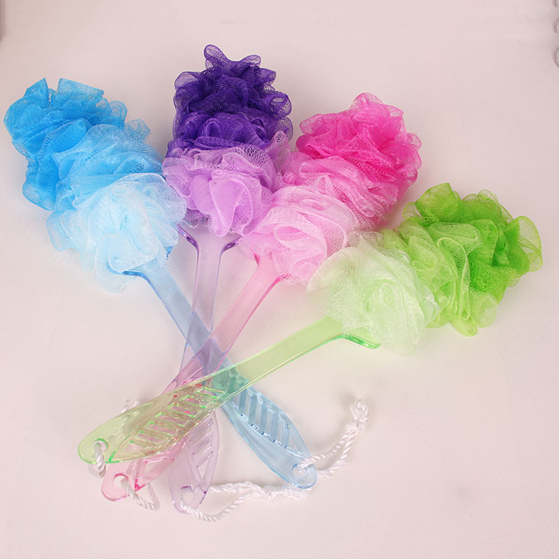 New Design Gradient Color Mesh Shower Bath Ball Puff Body Scrubber Cleaning Bat