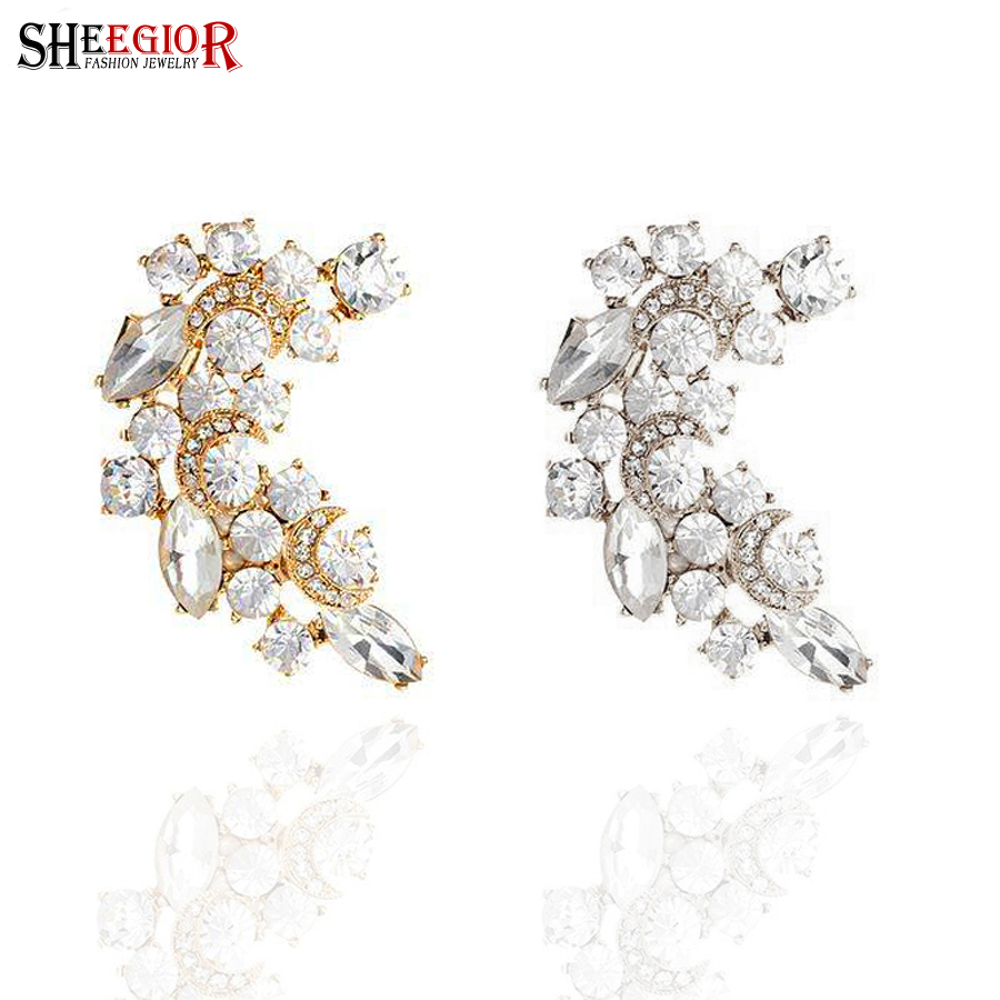Brand 1 piece gold silver earrings for women indian jewelry flower ear cuff with crystal rhinestone earings fashion jewelry CEV(China (Mainland))