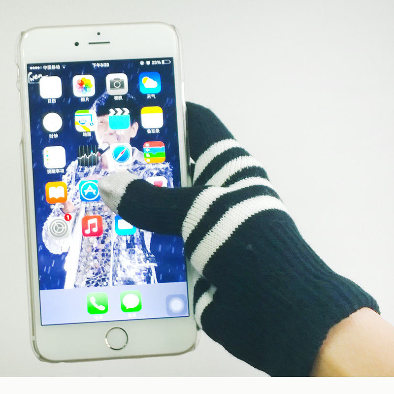 1Pair New Unisex Soft Winter Magic Touch Screen Smartphone Texting Knit Gloves