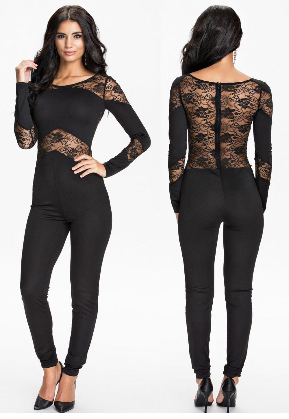 Black Lace Insert Hollow-out Fashion Long sleeve jumpsuits and rompers winter club bodysuits for women overalls female LC6788(China (Mainland))