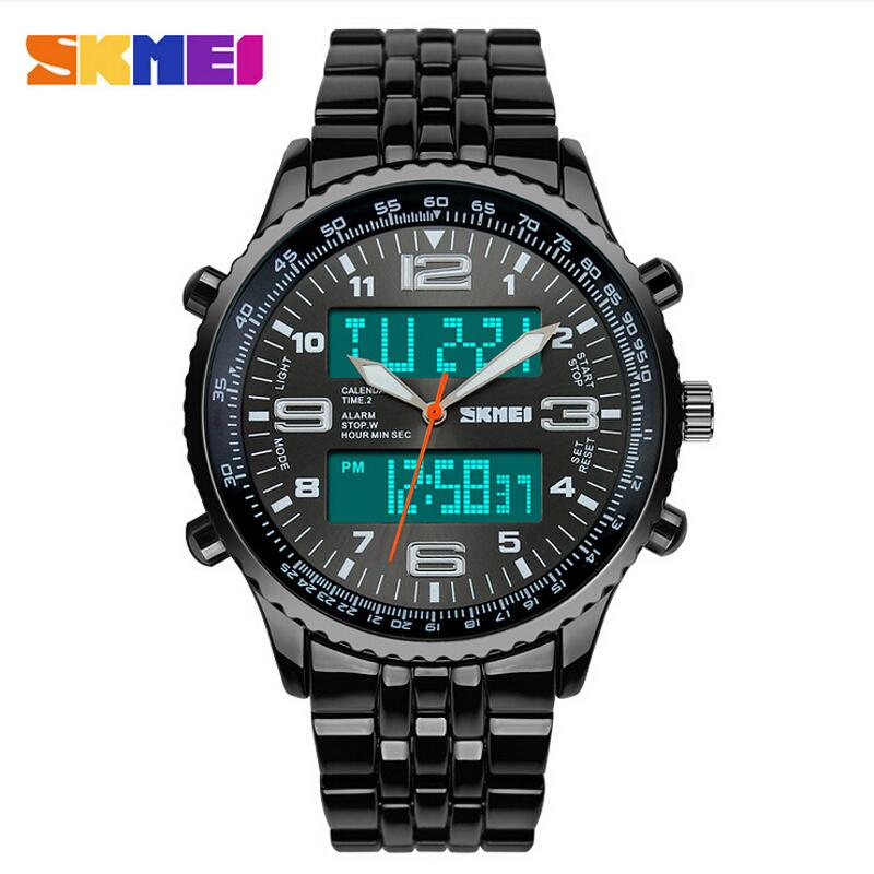 Skmei Fashion Casual Watches Men Luxury Brand Wristwatches Stainless Steel LED Digital Quartz Waterproof Watch Dress - TYT Professional store