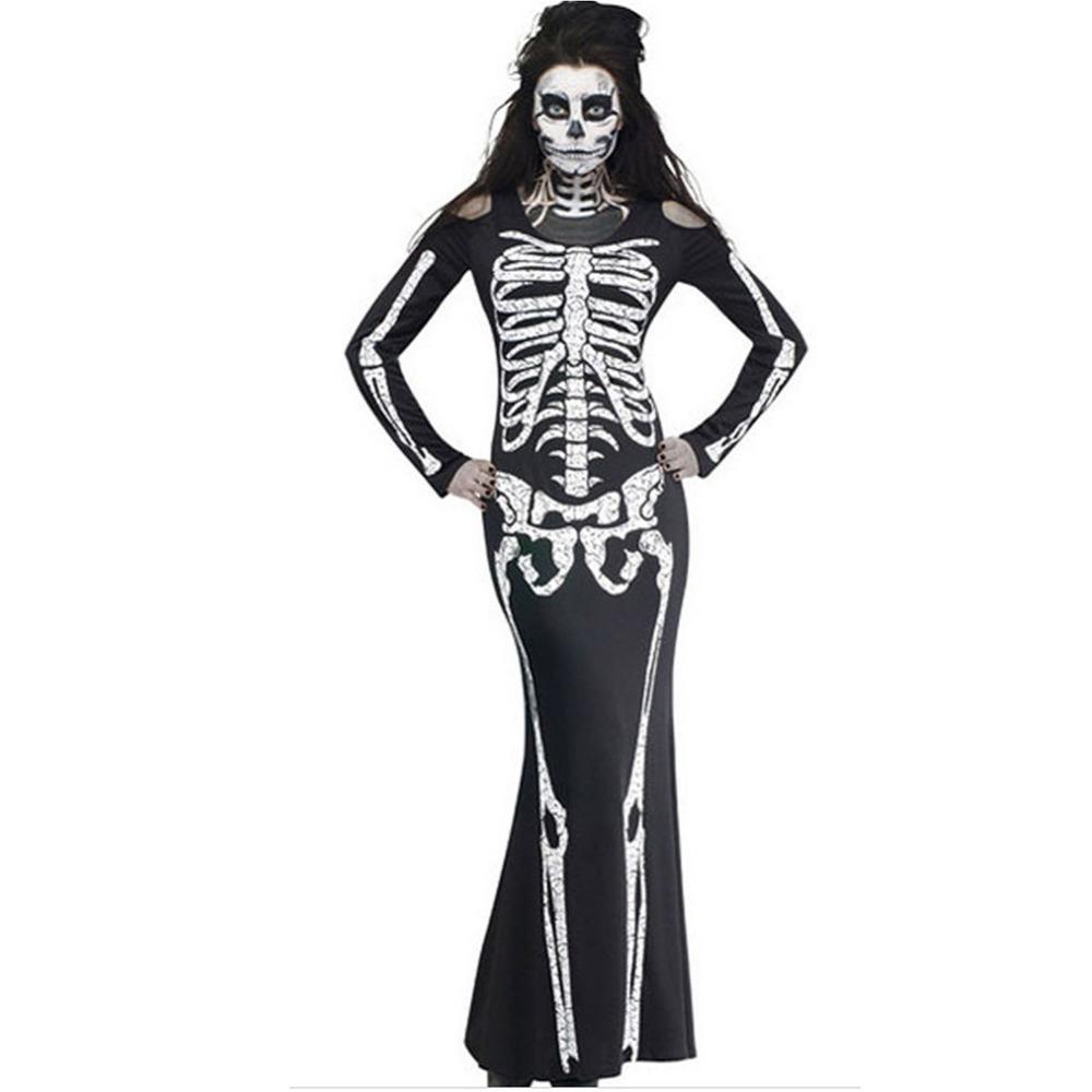 2016 New Brand Designer Women Halloween Hallows Dress for Party Skull Skeleton Ankle Length Plus Size Maxi Print Dresses Gift(China (Mainland))