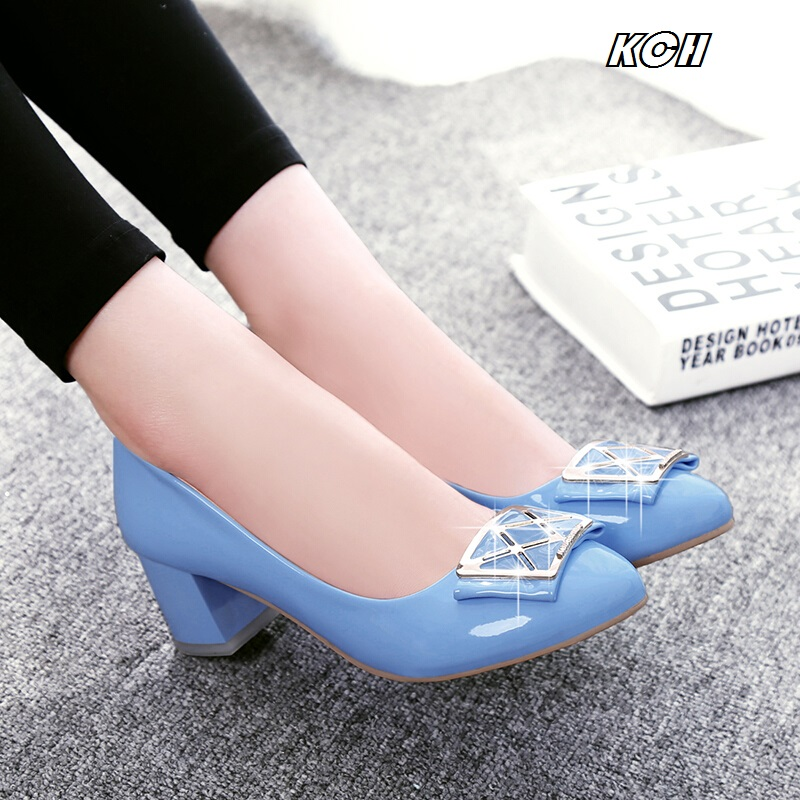 2016 spring and autumn fashion thick heel shallow mouth women's shoes casual all-match round toe comfortable work shoes single