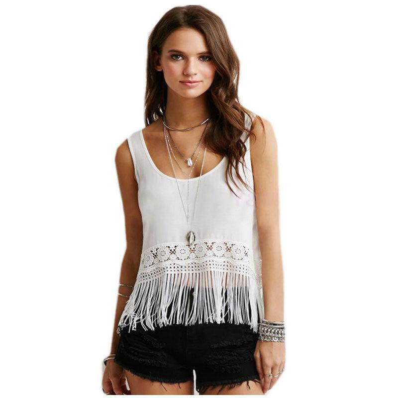 2015 New Summer Women Blouses O Neck Plus Size Sleeveless Chiffon Shirts Women Tops Clothing Casual Lace Shirts Blusa Feminina(China (Mainland))