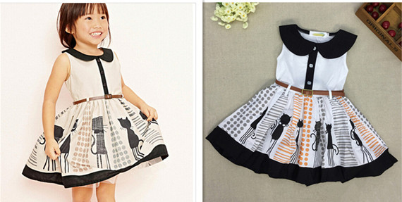 Infant Girls Summer Smock Dress Baby girls cotton Dress Children's party Dress Cat Printed 5pcs/lot(China (Mainland))