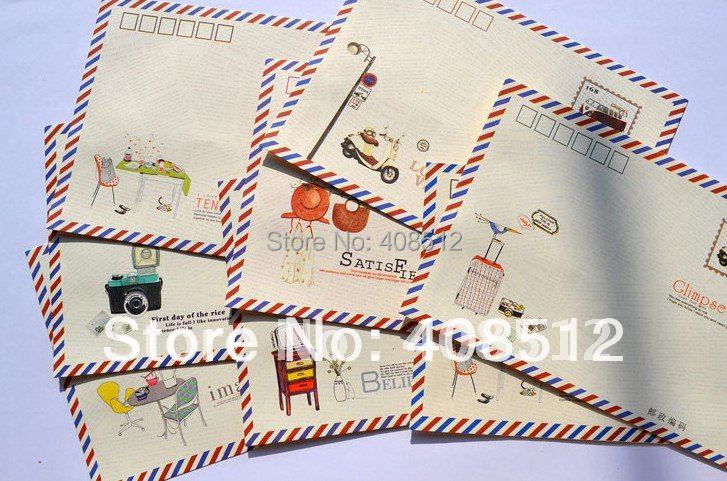 High quality Printed lovely gift post card envelopes mixed colors(China (Mainland))