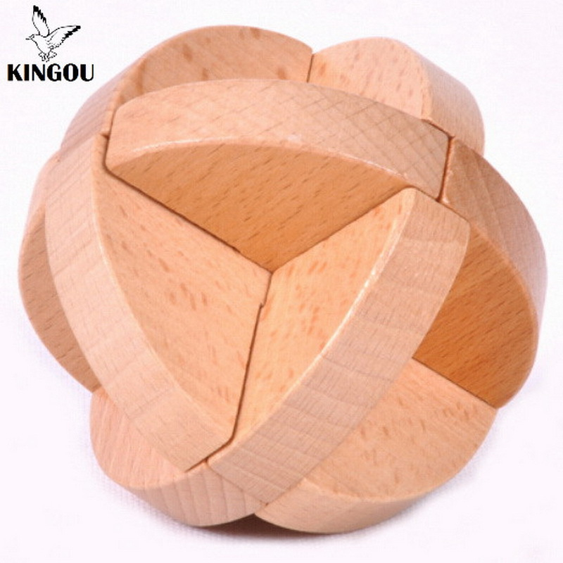 KINGOU Wooden Luban Ball Lock Logic Puzzle Burr Puzzles Brain Teaser Educational Jigsaw Toy Wood Toys For Children(China (Mainland))
