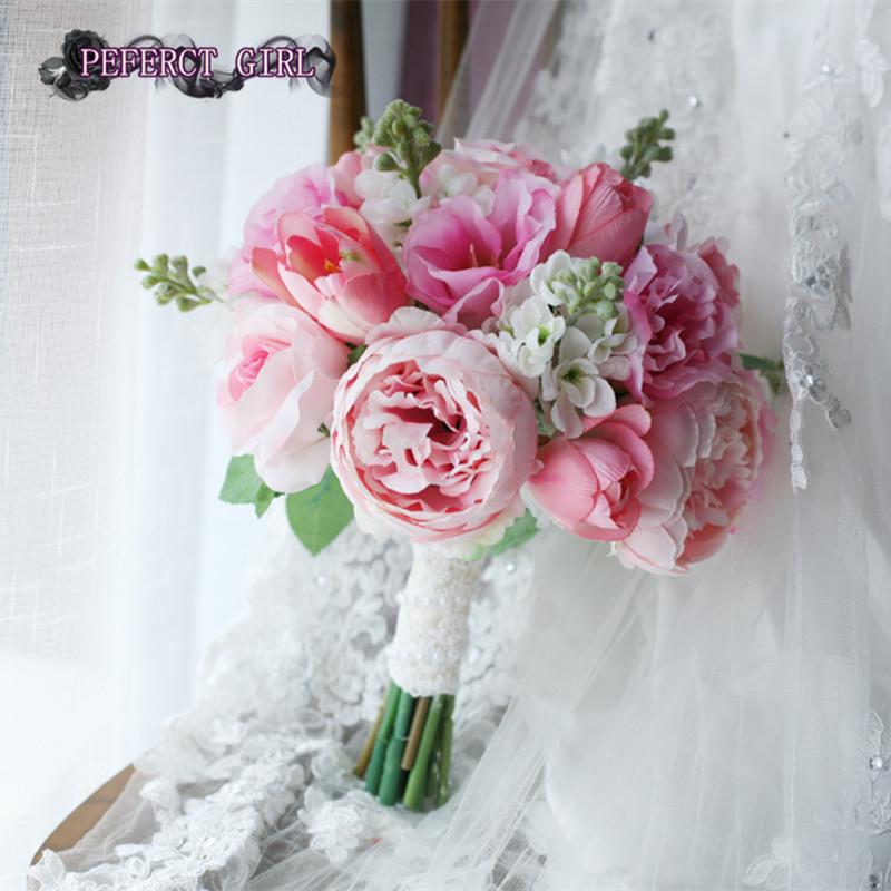 pink wedding bouquets bridal bouquet bruidsboeket bouquet fleur mariage ramo de novia artificial. Black Bedroom Furniture Sets. Home Design Ideas